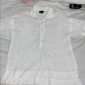 Wmns JCREW Perforated Polo Top